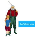 sad father and son fishing together two character vector image vector image