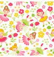 seamless with fairies and flowers vector image