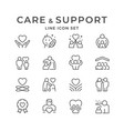 set line icons care and support vector image vector image