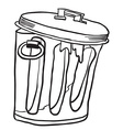 simple black and white garbage can vector image