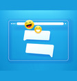 simple flat browser window with chat bubbles vector image vector image