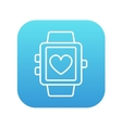 Smartwatch with heart sign line icon vector image vector image