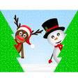 Snowman and reindeer peeking from behind trees vector image