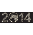 Sparkling happy new 2014 year made of many stars vector image