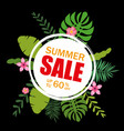 summer sale template banner poster with palm vector image