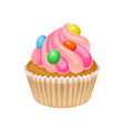 tasty cupcake decorated with pink butter cream and vector image vector image