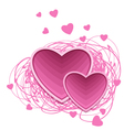 valentines pink hearts vector image vector image