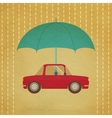 Vintage car under umbrella vector image vector image