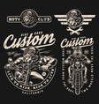 vintage monochrome motorcycle designs vector image vector image