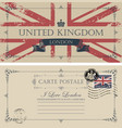 vintage postcard with flag of great britain vector image