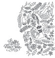 winter natural hand drawn background vector image vector image