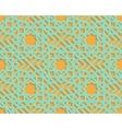 Seamless blue arabic geometric pattern on orange vector image