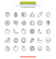 fruits and vegetables thin icons vector image