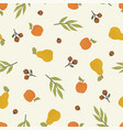 apples pears and nuts autumn seamless pattern vector image vector image