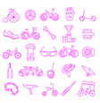 Bicycle icon set Bike types linear thin de vector image vector image