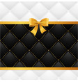 card silk ribbon bow and quilted background vector image vector image