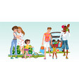 cartoon set two families with their children vector image