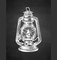 chalk sketch kerosene lamp vector image vector image