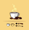 coffee set with a cup and spices vector image vector image