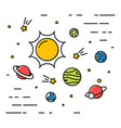 colorful linear space with planets linear simple vector image vector image
