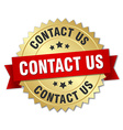 contact us 3d gold badge with red ribbon vector image vector image