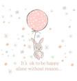 cute rabbit bunny holding air balloon vector image