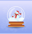 cute snowman in christmas magic ball vector image vector image