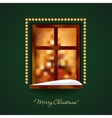 Decorated window with some snow on a green wall vector image vector image