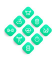 fitness icons set in linear style vector image vector image