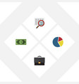 flat icon incoming set of graph greenback scan vector image vector image
