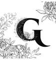 flower alphabet letter g pattern vector image