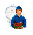 flower delivery boy courier flower seller on vector image