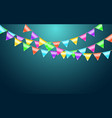 garland flag and confetti in party and enjoyment vector image vector image