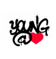 graffiti young at heart text sprayed over white vector image