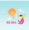 happy business woman jumping with big light bulb vector image