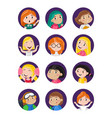 happy little girls avatar icon set vector image