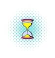 Hourglass icon in comics style vector image