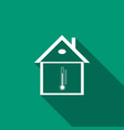 house temperature icon isolated with long shadow vector image vector image