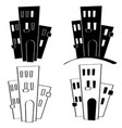 houses cartoon style black and white doodles vector image