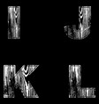 i j k l letters white on a black background wood vector image