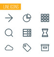 interface icons line style set with ahead vector image vector image