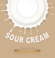 isolated splash of sour cream on a brown backgroun vector image vector image