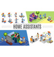 isometric robotic home assistants collection vector image vector image