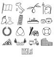 italy country theme outline symbols and icons set vector image vector image