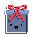 kawaii gift box icon with decorative ribbon in vector image