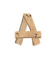 letter a wood board font plank and nails alphabet vector image vector image