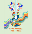 live music festival poster banner template vector image vector image