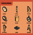 measuring color outline isometric icons vector image vector image