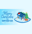merry christmas concept banner cartoon style vector image vector image