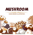 mushroom icon frame hand drawn background vector image vector image